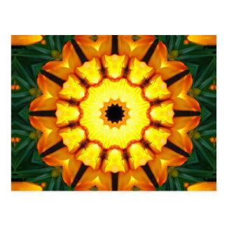 Orange Yellow Iris Nature 002 05, Flower-Mandala Postcard