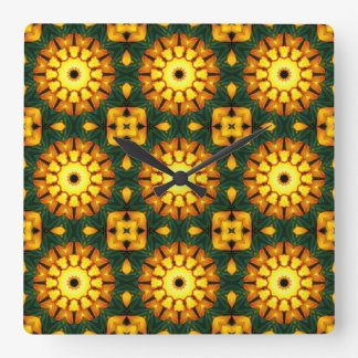 Orange Yellow Iris Nature 004 02, Flower-Mandala Square Wall Clock