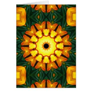 Orange Yellow Iris Nature 03, Flower-Mandala Card