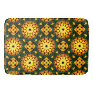 Orange Yellow Iris Nature, Flower-Mandala Bath Mat