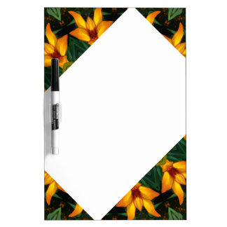 Orange Yellow Iris Nature, Flower-Mandala Dry-Erase Whiteboard