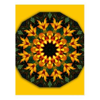 Orange Yellow Iris Nature, Flower-Mandala Postcard