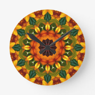 Orange Yellow Iris Nature, Flower-Mandala Round Clock