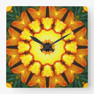 Orange Yellow Iris Nature, Flower-Mandala Square Wall Clock