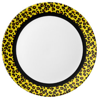 Orange & Yellow Leopard with Black Band on White Plate