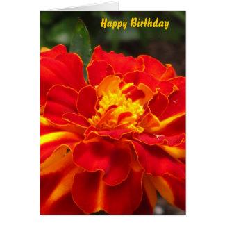 Orange Yellow Marigold Flower Greeting Card