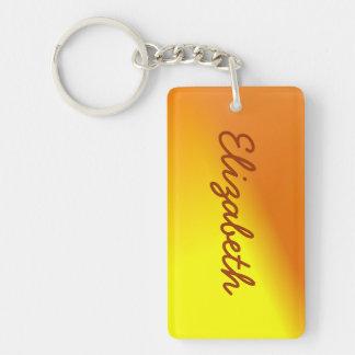 Orange Yellow Ombre Double-Sided Rectangular Acrylic Key Ring
