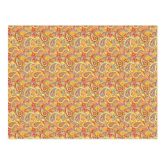 Orange & Yellow Paisley Postcard
