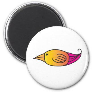 Orange, Yellow, Pink Bird 6 Cm Round Magnet