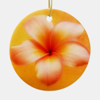 Orange Yellow Plumeria Flower Orange Background Round Ceramic Decoration