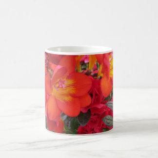 orange yellow red freesias mugs