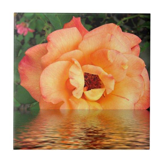Orange Yellow Rose Flower Tile