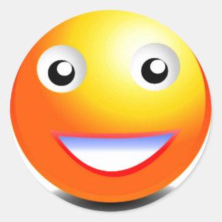 Orange & Yellow Smiley Face Round Sticker