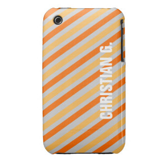 Orange yellow stripe pattern custom name personal Case-Mate iPhone 3 cases