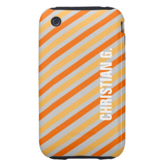 Orange yellow stripe pattern custom name personal iPhone 3 tough case
