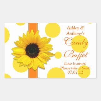 Orange Yellow Sunflower Polka Dots Candy Buffet Rectangular Sticker