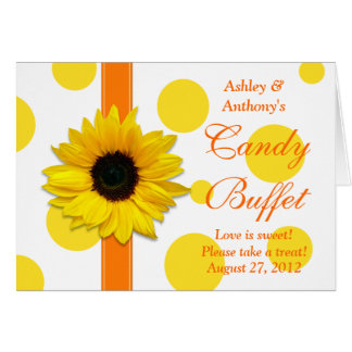 Orange Yellow Sunflower Wedding Candy Buffet Sign Card