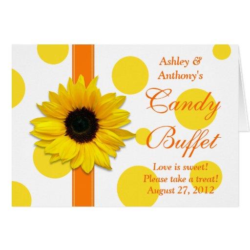 Orange Yellow Sunflower Wedding Candy Buffet Sign Cards