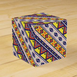 Orange Yellow Tribal Pyramids Print Favour Box