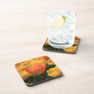 Orange yellow tulips by Thespringgarden Drink Coaster