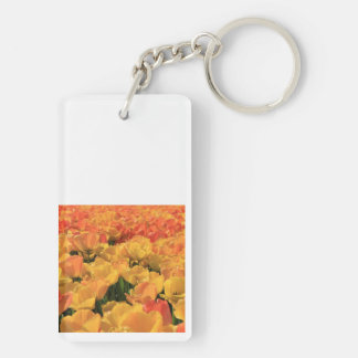 Orange yellow tulips by Thespringgarden Key Ring