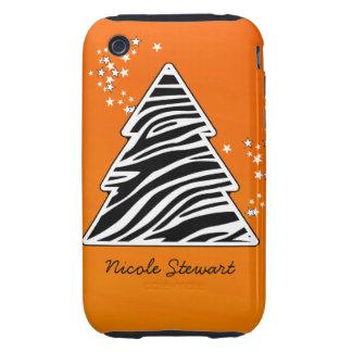 Orange Zebra Christmas Tree Tough iPhone 3 Case