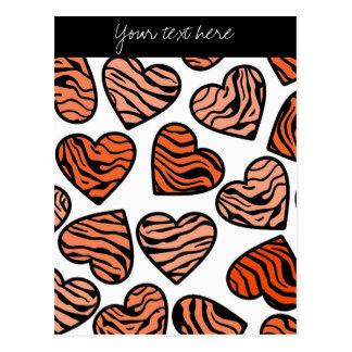 Orange Zebra hearts Design Postcard Postcard