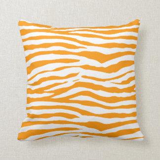 Orange Zebra Stripes Throw Pillows