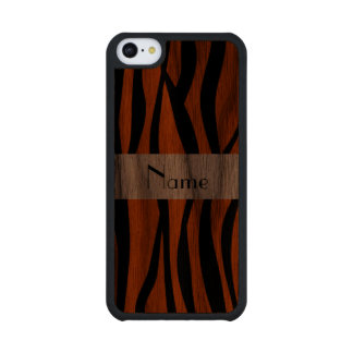 Orange zebra stripes white stripe carved® walnut iPhone 5C slim case