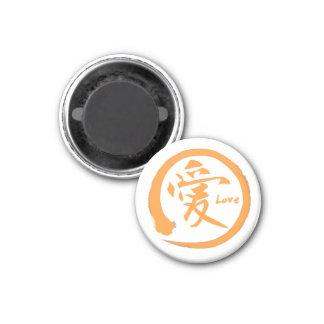 Orange zen circle | Japanese kanji symbol for love Magnet