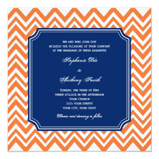 Orange Zigzag Pattern with Royal Blue Wedding 13 Cm X 13 Cm Square Invitation Card