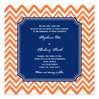 Orange Zigzag Pattern with Royal Blue Wedding Invites