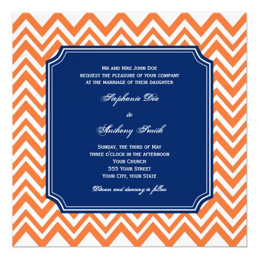 Orange Zigzag Pattern with Royal Blue Wedding Invites