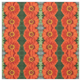 Orange zinnia fabric