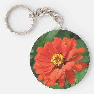 Orange Zinnia Flower Keychain