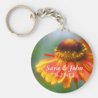 Orange Zinnia Flower Wedding Favor Keychain