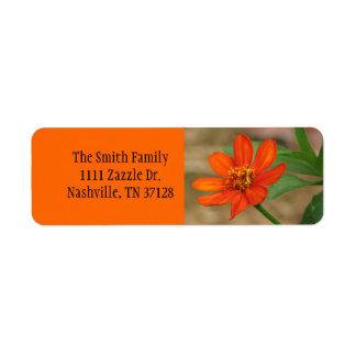 Orange Zinnia Profusion Return Address Label