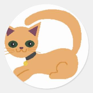 OrangeCatWithGreeneyesandGraycollar.PNG Round Sticker