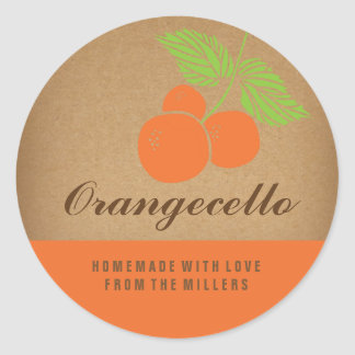 Orangecello Label, round orange sticker