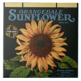 Orangedale Sunflower Orange Crate Label Large Square Tile