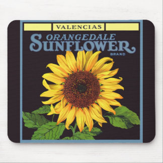 Orangedale Sunflower Vintage Fruit Crate Label Art Mouse Pad