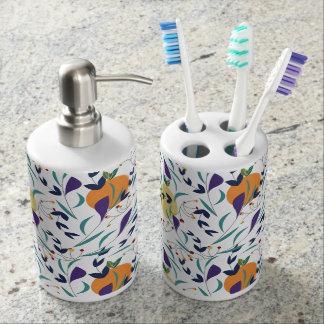 Oranges and lemons patterned soap dispenser and toothbrush holder