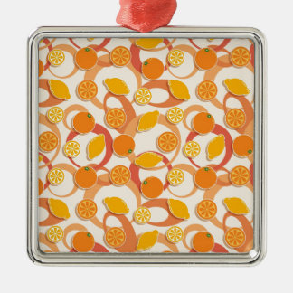 Oranges and lemons Silver-Colored square decoration