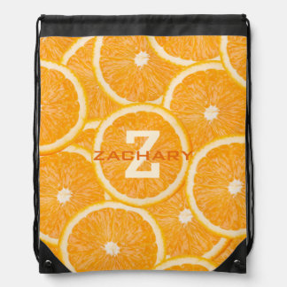 Oranges custom monogram backpack