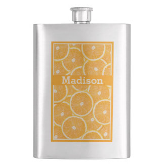 Oranges custom monogram flask