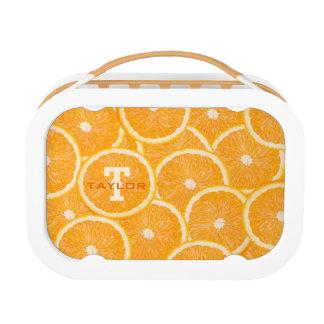 Oranges custom monogram lunch boxes