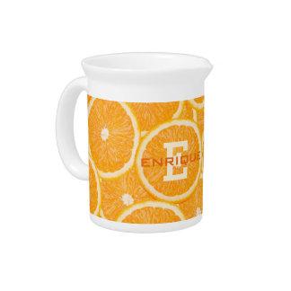 Oranges custom monogram pitcher