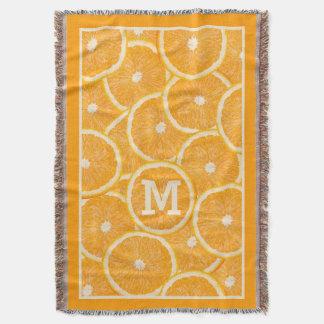 Oranges custom monogram throw blanket