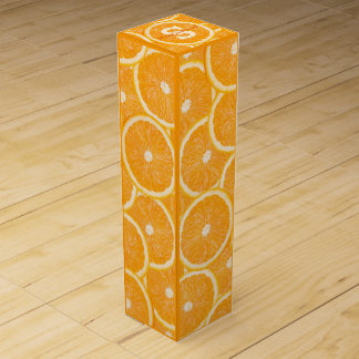 Oranges custom monogram wine gift box