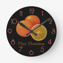 Oranges Still Life Oil on Canvas Painting custom Round Clock